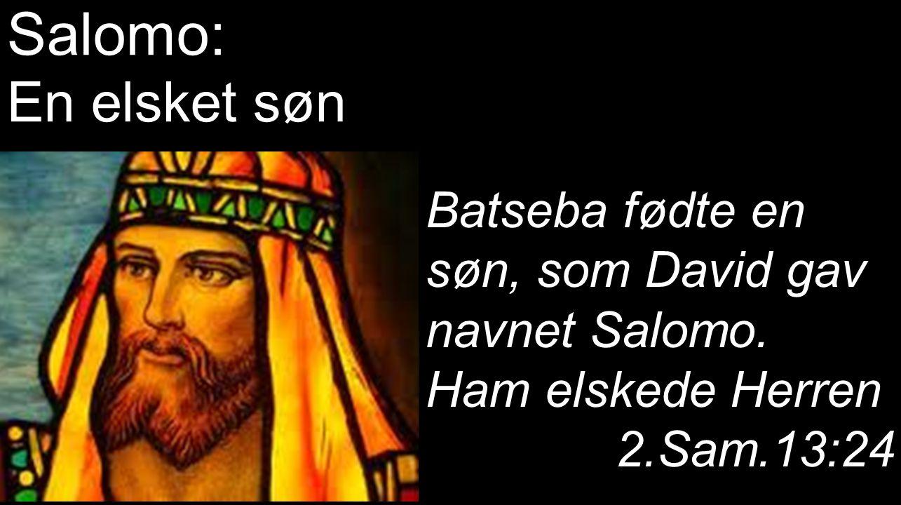 Salomo: En elsket søn. Batseba fødte en søn, som David gav navnet Salomo. Ham elskede Herren. 2.Sam.13:24.