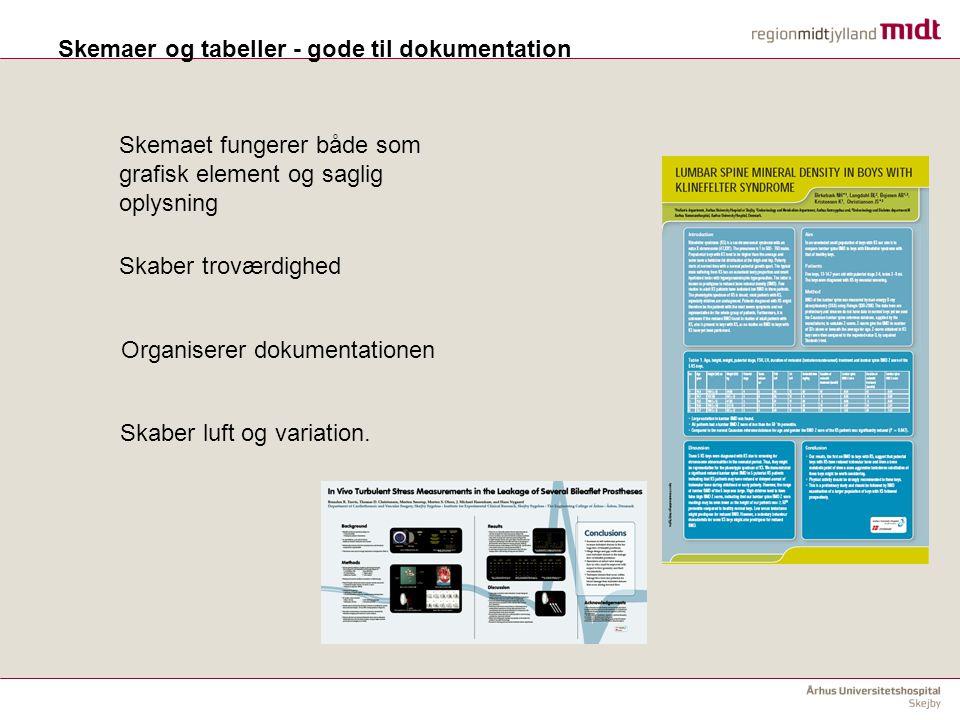 Skemaer og tabeller - gode til dokumentation