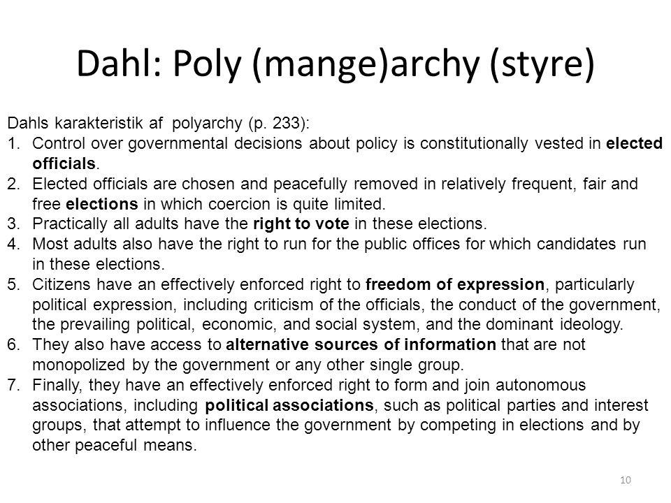 Dahl: Poly (mange)archy (styre)