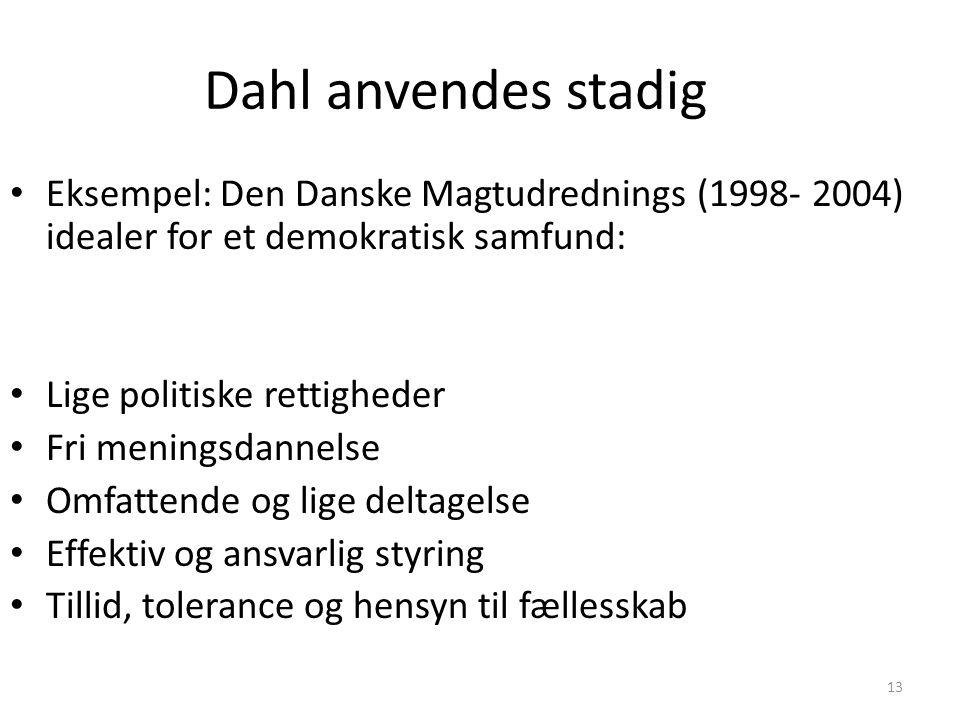 Dahl anvendes stadig Eksempel: Den Danske Magtudrednings (1998- 2004) idealer for et demokratisk samfund: