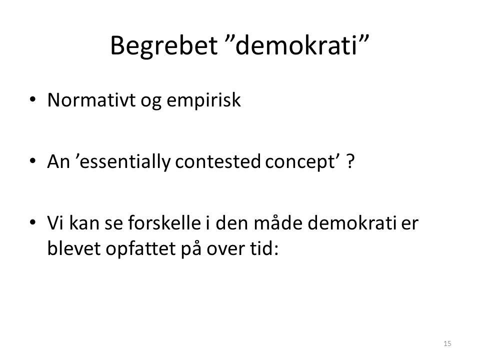 Begrebet demokrati Normativt og empirisk