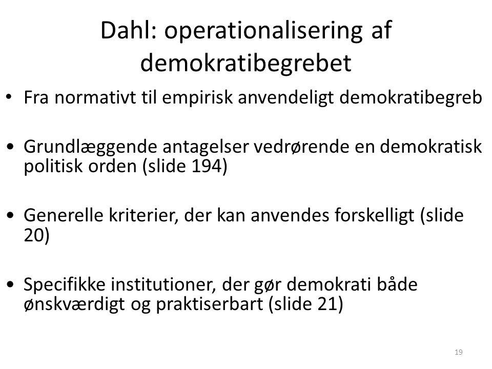 Dahl: operationalisering af demokratibegrebet