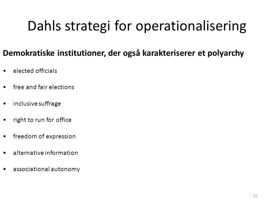 Dahls strategi for operationalisering