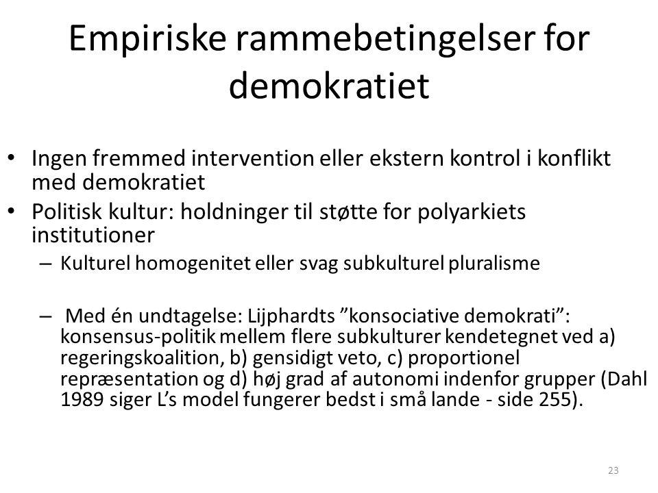 Empiriske rammebetingelser for demokratiet