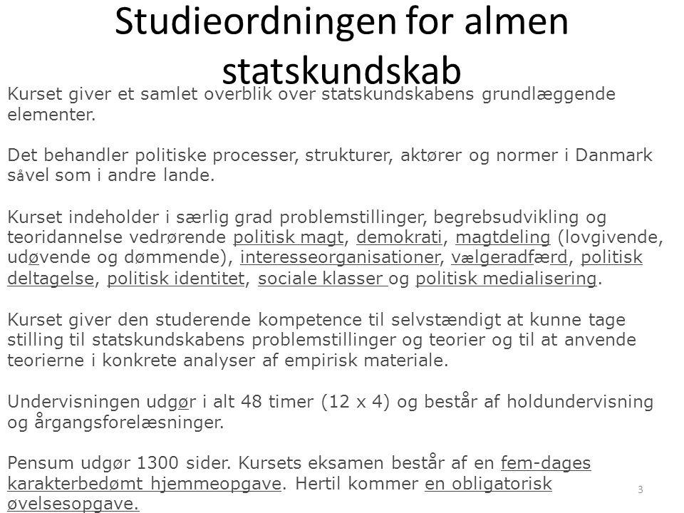 Studieordningen for almen statskundskab