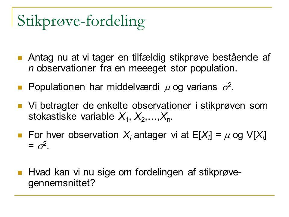 Stikprøve-fordeling Antag nu at vi tager en tilfældig stikprøve bestående af n observationer fra en meeeget stor population.