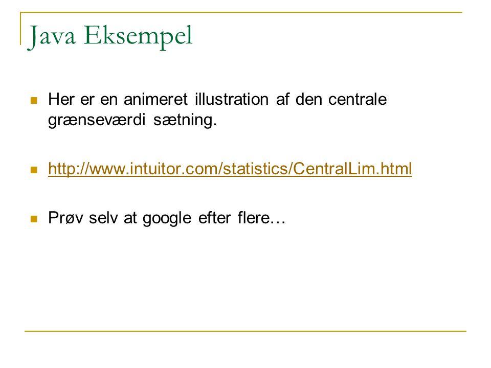 Java Eksempel Her er en animeret illustration af den centrale grænseværdi sætning. http://www.intuitor.com/statistics/CentralLim.html.