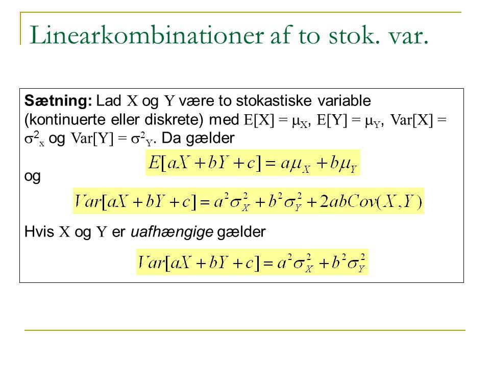 Linearkombinationer af to stok. var.