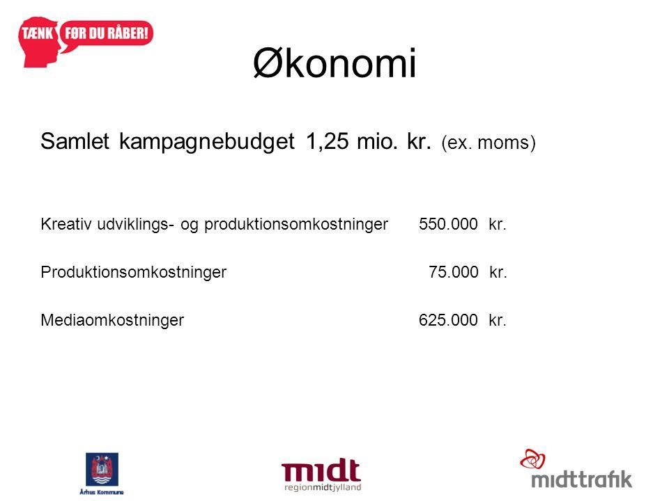 Økonomi Samlet kampagnebudget 1,25 mio. kr. (ex. moms)