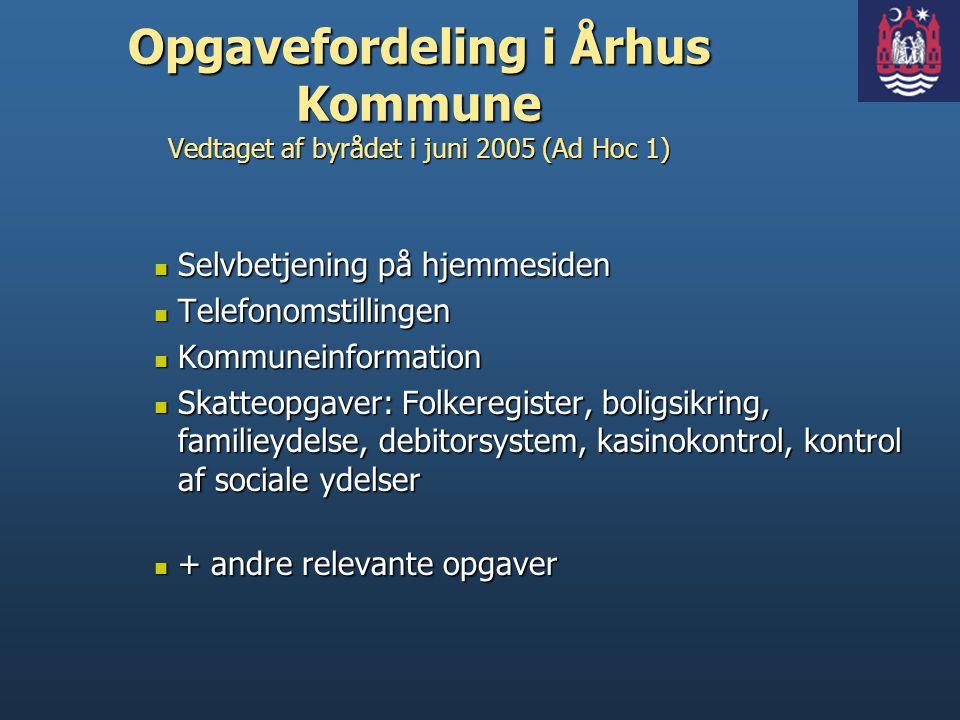 Opgavefordeling i Århus Kommune Vedtaget af byrådet i juni 2005 (Ad Hoc 1)