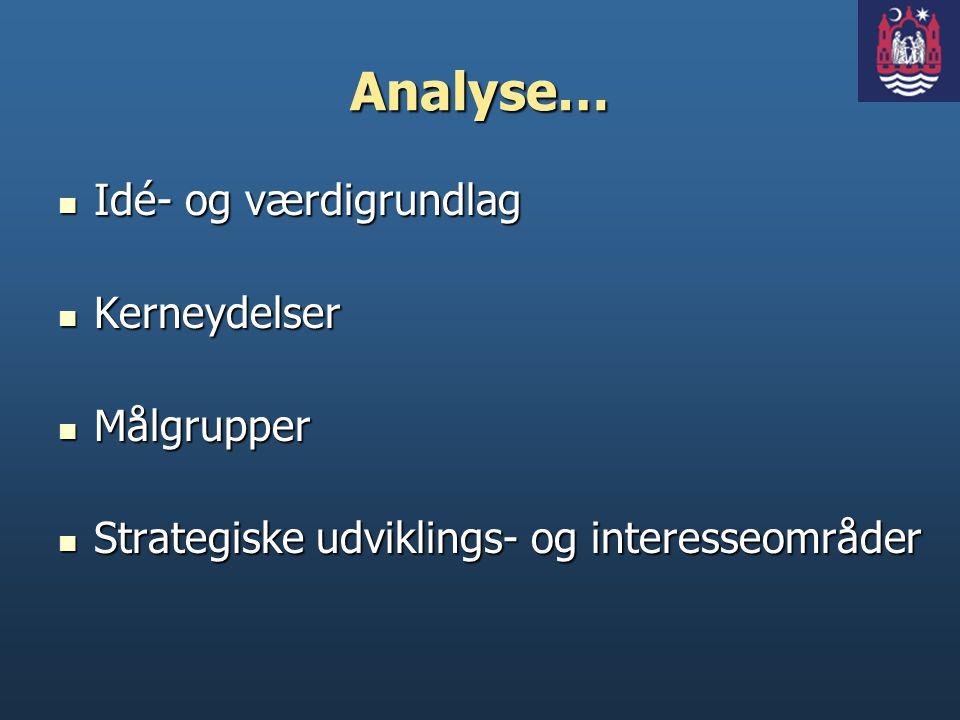 Analyse… Idé- og værdigrundlag Kerneydelser Målgrupper