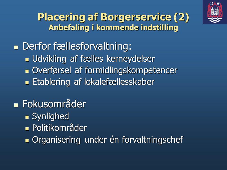Placering af Borgerservice (2) Anbefaling i kommende indstilling