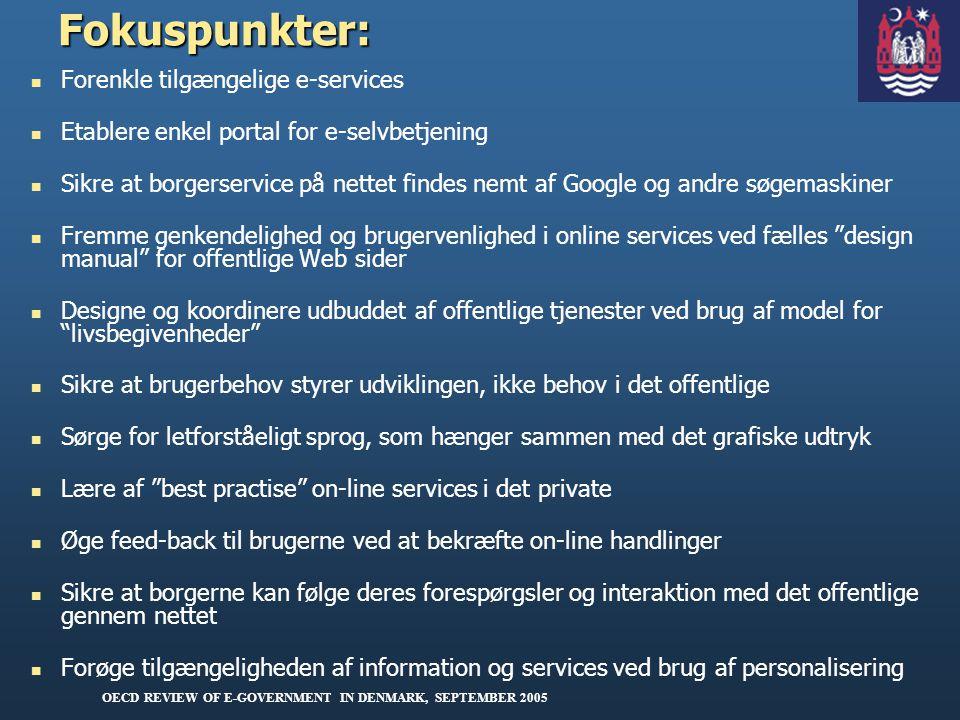 Fokuspunkter: Forenkle tilgængelige e-services