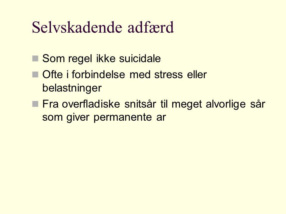 Selvskadende adfærd Som regel ikke suicidale