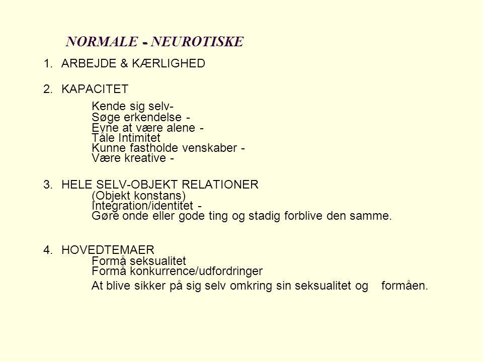 Kende sig selv- NORMALE - NEUROTISKE 1. ARBEJDE & KÆRLIGHED