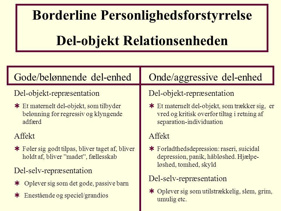 Borderline Personlighedsforstyrrelse Del-objekt Relationsenheden