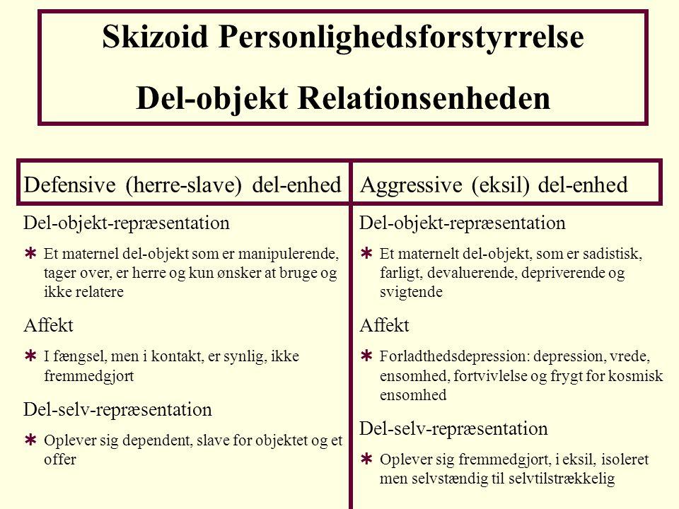 Skizoid Personlighedsforstyrrelse Del-objekt Relationsenheden