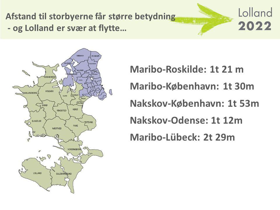 Nakskov-København: 1t 53m Nakskov-Odense: 1t 12m Maribo-Lübeck: 2t 29m