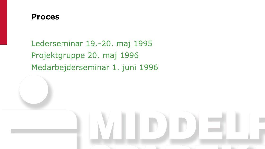 Proces Lederseminar 19.-20. maj 1995 Projektgruppe 20. maj 1996 Medarbejderseminar 1. juni 1996