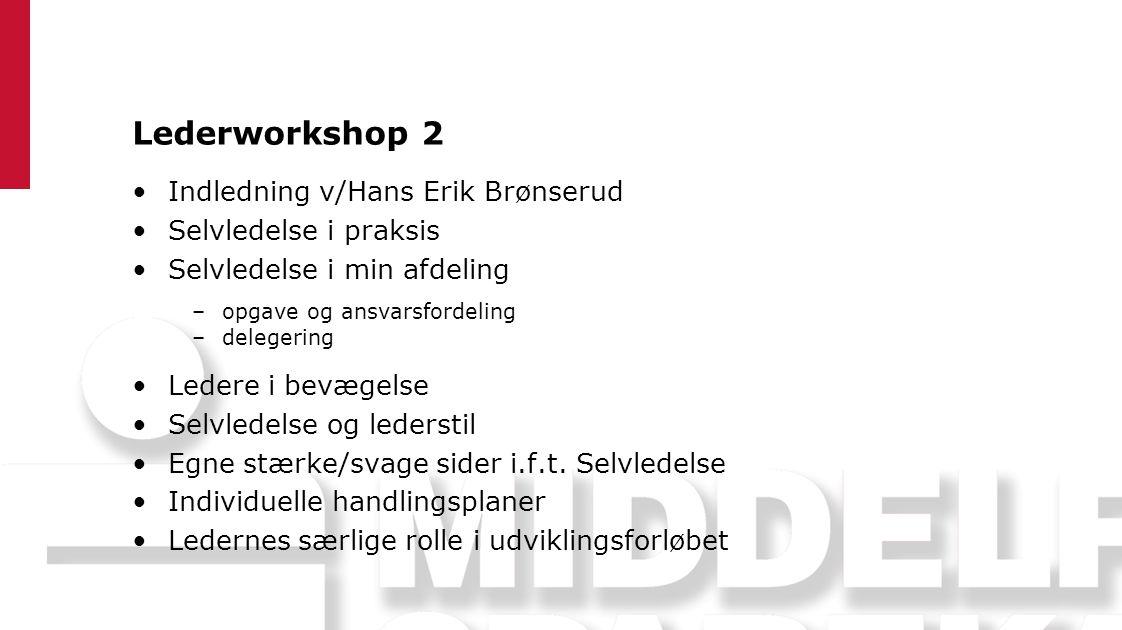Lederworkshop 2 Indledning v/Hans Erik Brønserud Selvledelse i praksis