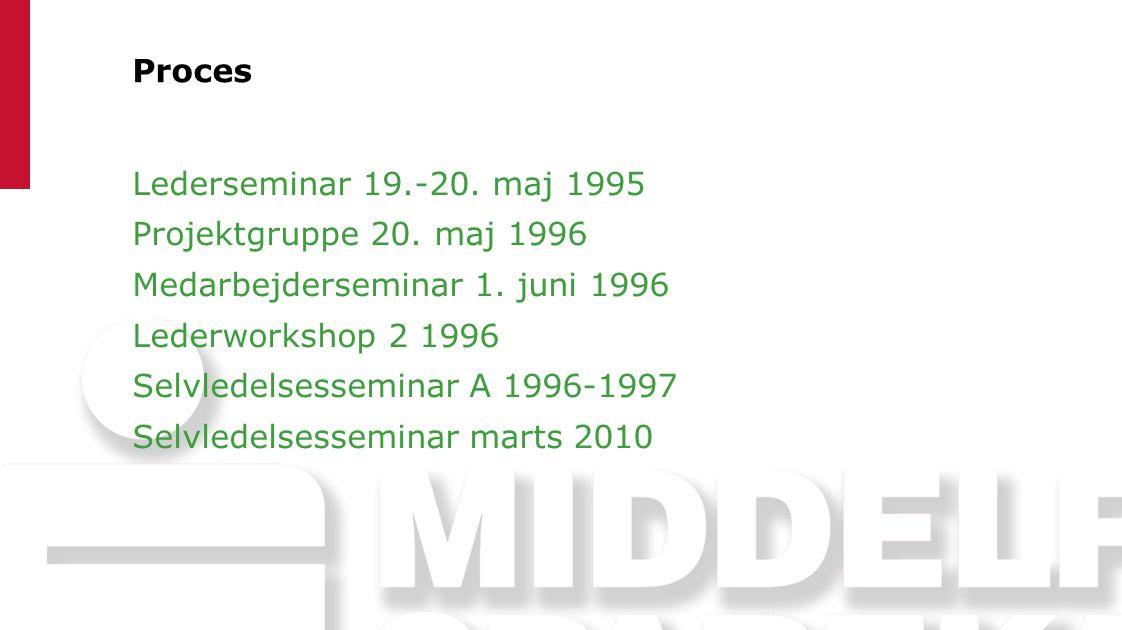 Proces Lederseminar 19.-20. maj 1995. Projektgruppe 20. maj 1996. Medarbejderseminar 1. juni 1996.