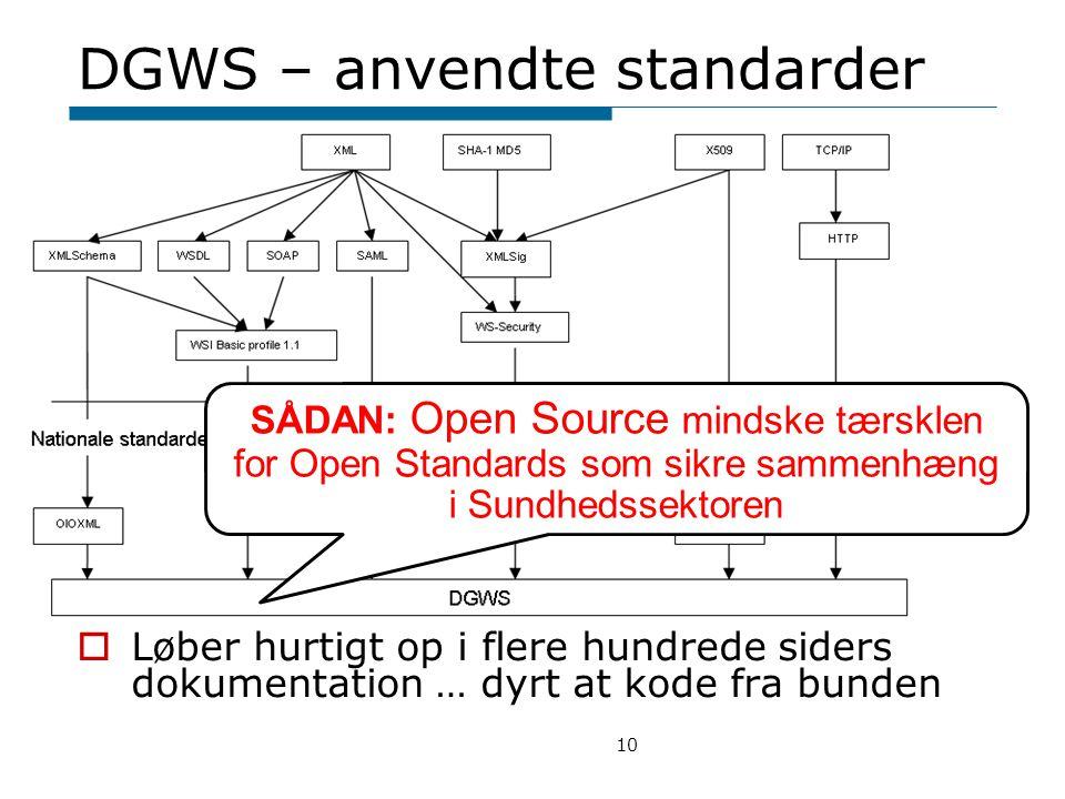 DGWS – anvendte standarder