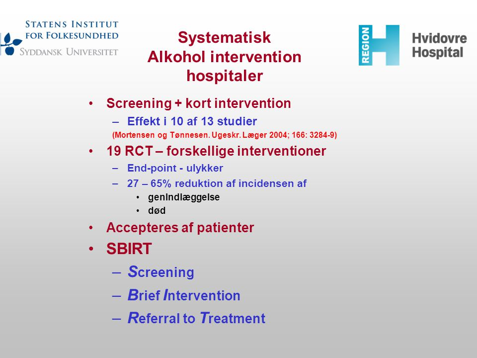 Systematisk Alkohol intervention hospitaler
