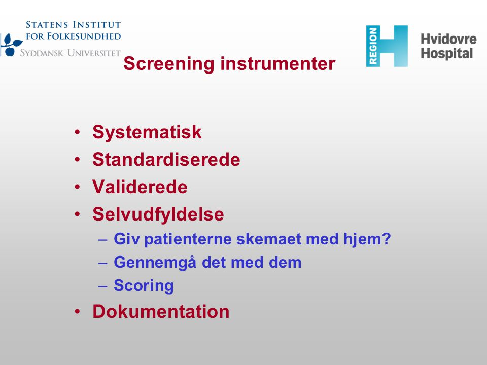 Screening instrumenter