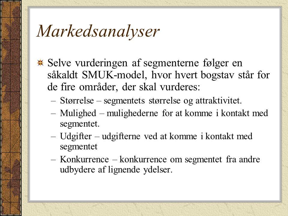 Markedsanalyser Selve vurderingen af segmenterne følger en såkaldt SMUK-model, hvor hvert bogstav står for de fire områder, der skal vurderes: