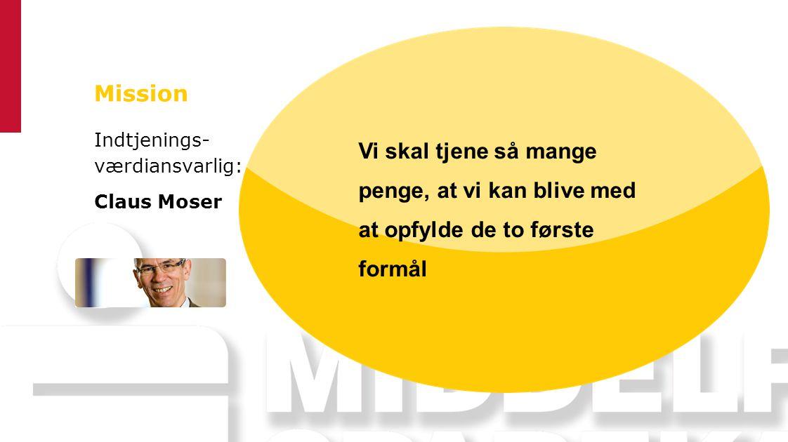 Mission Indtjenings- værdiansvarlig: Claus Moser. Vi skal tjene så mange penge, at vi kan blive med at opfylde de to første formål.