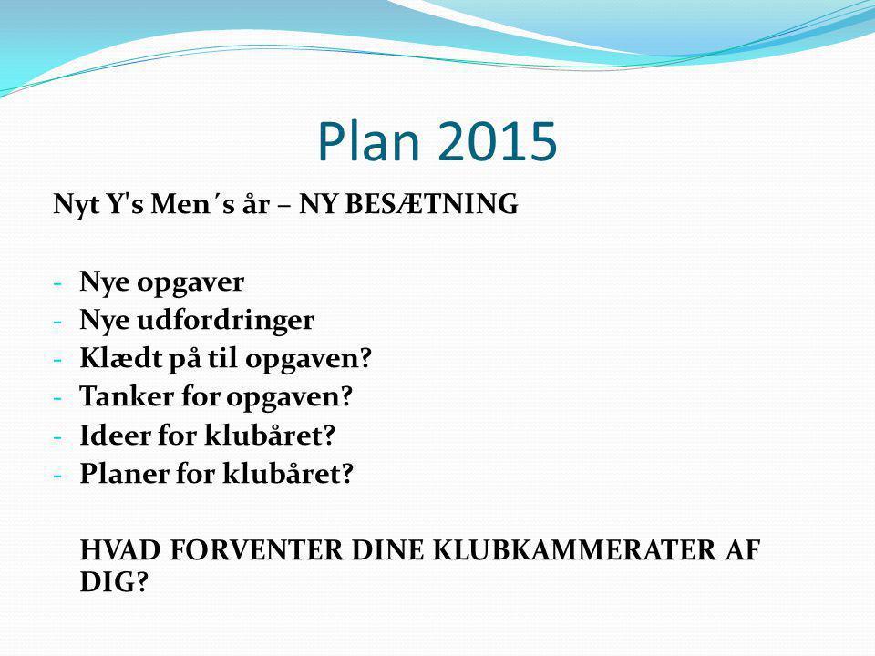 Plan 2015 Nyt Y s Men´s år – NY BESÆTNING Nye opgaver Nye udfordringer