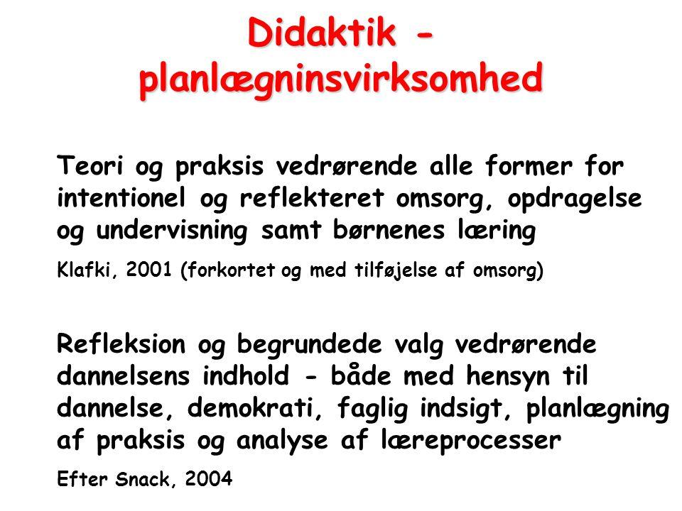 Didaktik - planlægninsvirksomhed