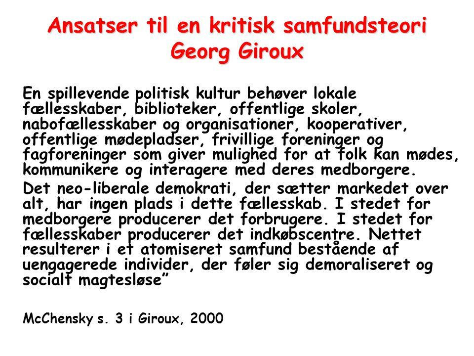 Ansatser til en kritisk samfundsteori Georg Giroux
