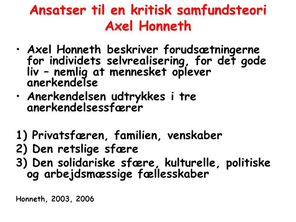 Ansatser til en kritisk samfundsteori Axel Honneth