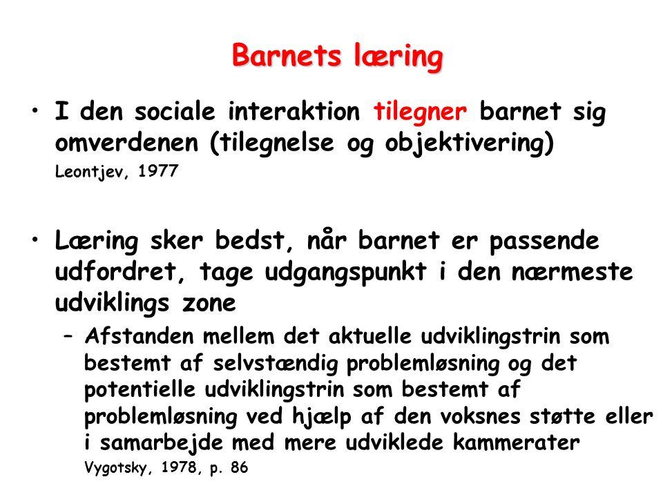 Barnets læring I den sociale interaktion tilegner barnet sig omverdenen (tilegnelse og objektivering)