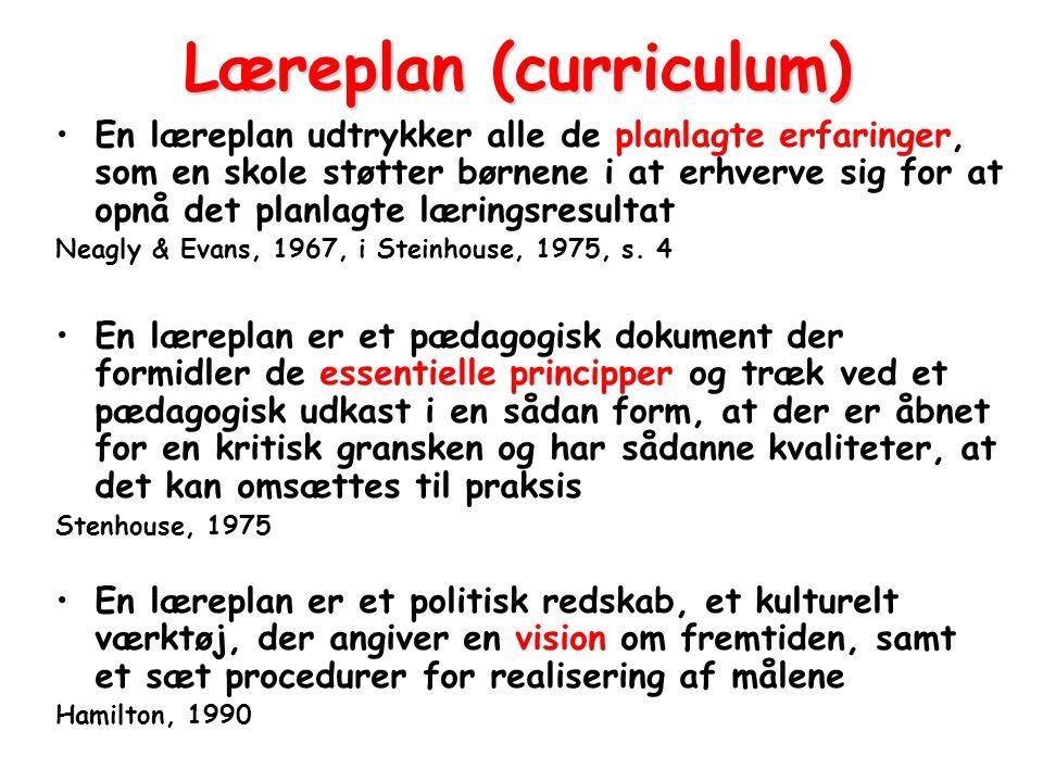 Læreplan (curriculum)