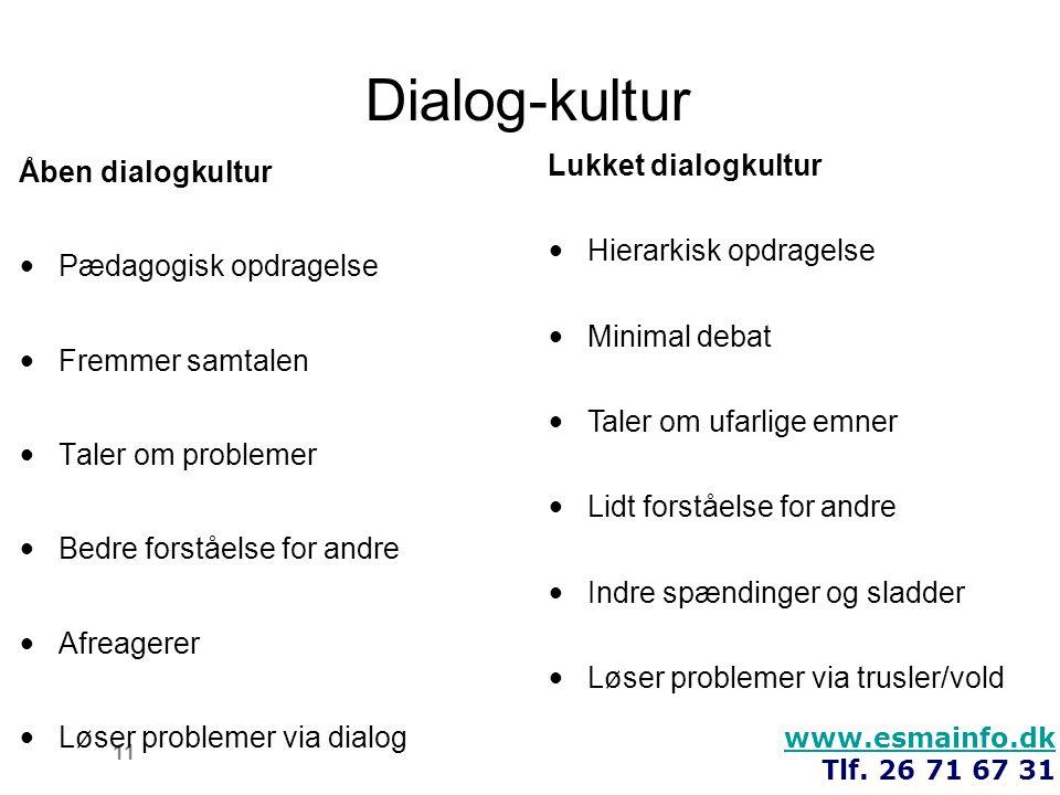 Dialog-kultur Åben dialogkultur Lukket dialogkultur