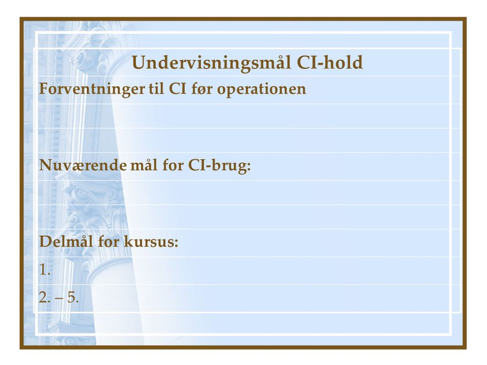 Undervisningsmål CI-hold