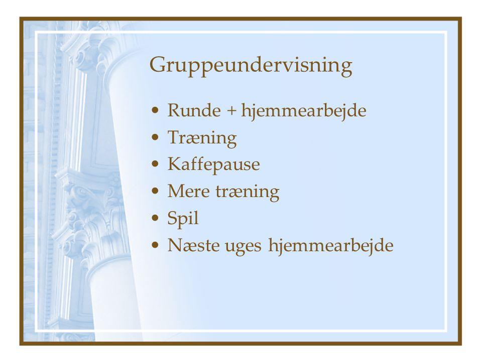 Gruppeundervisning Runde + hjemmearbejde Træning Kaffepause