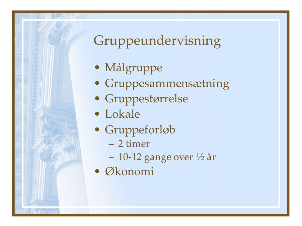 Gruppeundervisning Målgruppe Gruppesammensætning Gruppestørrelse