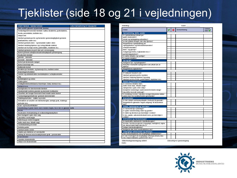 Tjeklister (side 18 og 21 i vejledningen)