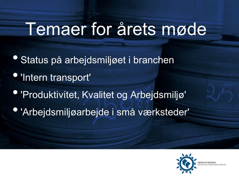 Temaer for årets møde Status på arbejdsmiljøet i branchen