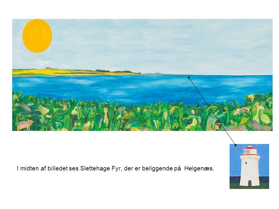 I midten af billedet ses Slettehage Fyr, der er beliggende på Helgenæs.