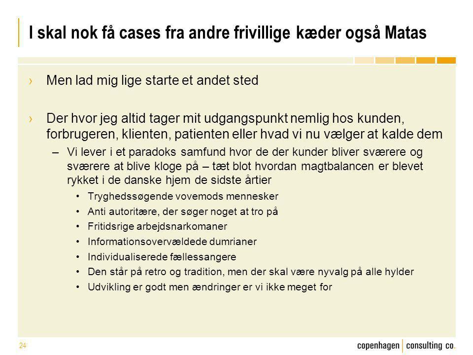 I skal nok få cases fra andre frivillige kæder også Matas
