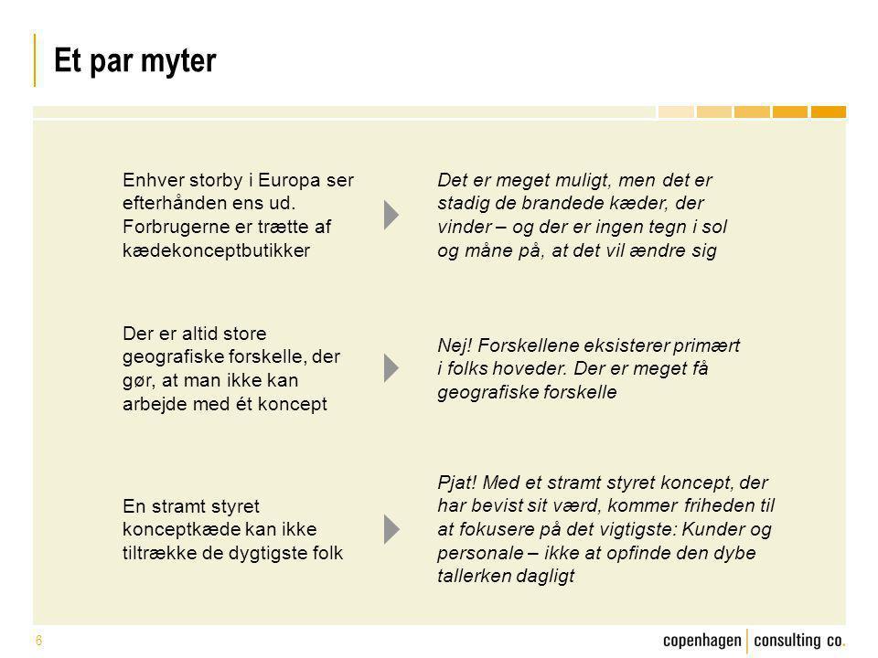 Et par myter Enhver storby i Europa ser efterhånden ens ud. Forbrugerne er trætte af kædekonceptbutikker.