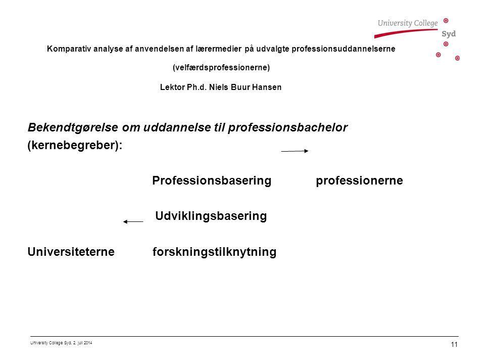 Bekendtgørelse om uddannelse til professionsbachelor (kernebegreber):
