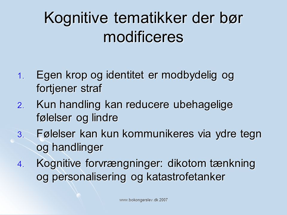 Kognitive tematikker der bør modificeres