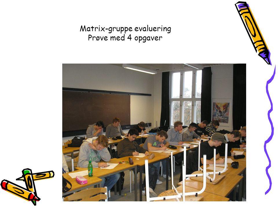 Matrix-gruppe evaluering Prøve med 4 opgaver