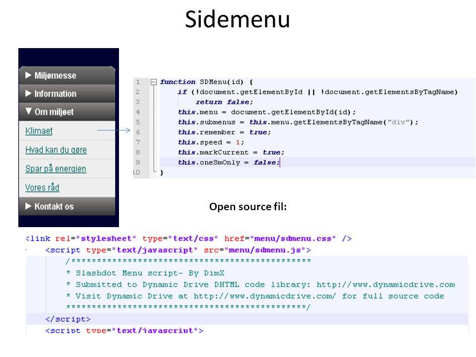 Sidemenu Open source fil: