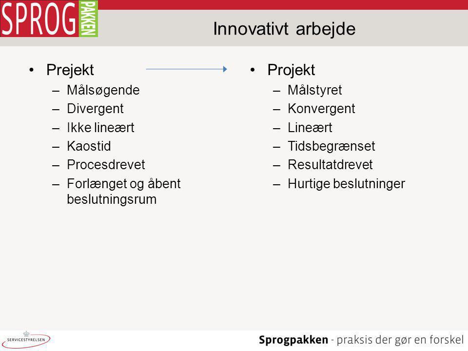 Innovativt arbejde Prejekt Projekt Målsøgende Divergent Ikke lineært